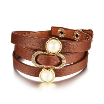 Harga PETREL Fashion Rivet Controllable Leather Belt Lady Wrap Bracelet - Intl