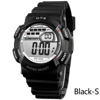 Harga O.T.S Children Sports Watches Students LED Digital Multifunctional 50M Waterproof Wristwatches - Black Grey S - intl