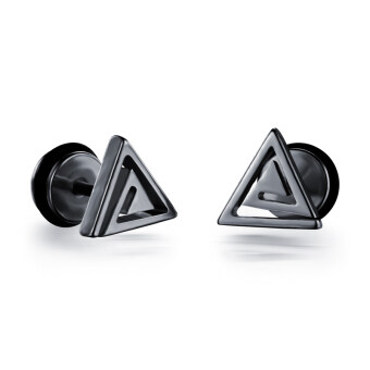 Harga ZUNCLE Simple triangle Men / Women earrings(black)