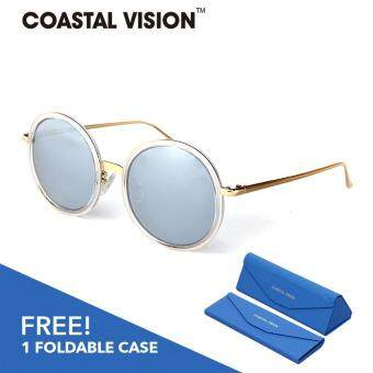 Harga COASTAL VISION Polarized Women Silver sunglasses Round anti UVA/B lenses CVS5055