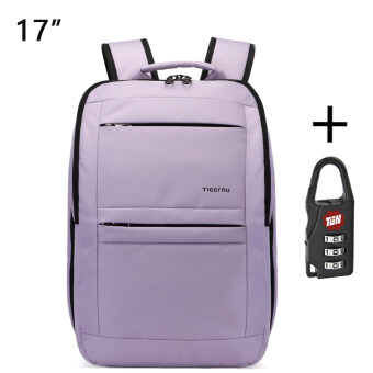 Harga Tigernu Waterproof Anti-theft Four-tooth zipper Shcool College Causal 17 Inches Laptop backpack for 12.1-17 Inches Laptop T-B3152(Light purple)
