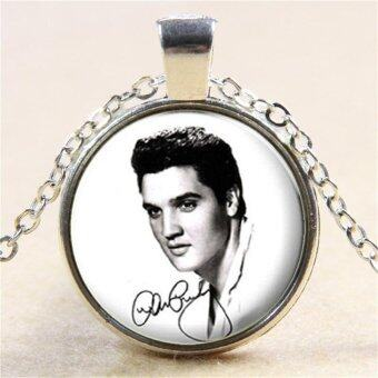Harga Vintage Elvis Presley Picture Pendant Necklace The King of Rock Art Jewelry Gift Silver - intl