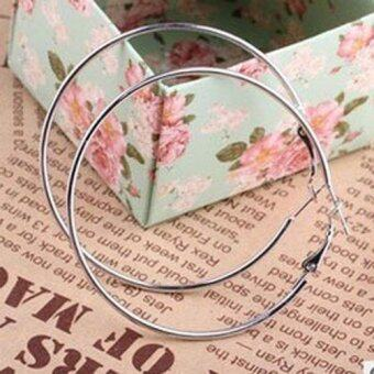 Harga Fancytoy New Fashion Silver Plated Round Big Large Hoop Huggie Loop Earrings Jewelry New - - intl