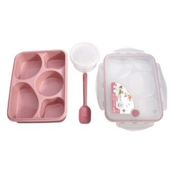 Harga Magic Kitchen 5 plus 1 Sealed Microwaveable Lunch box with spoon bento box For kids School Office with simplicity fresh style (Pink)