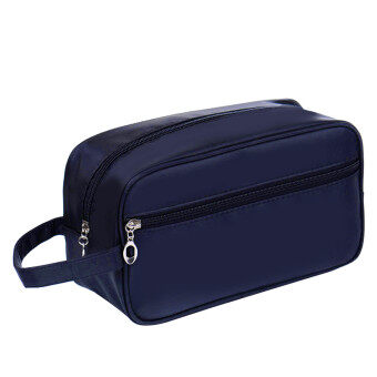 Harga Unisex Men Women Portable Waterproof Big Capacity Travel Toiletry Bag Wash Shaving Bag Makeup Grooming Toilet Bag Dark Blue