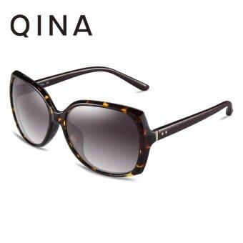 Harga QINA Polarized Women Tawny Sunglasses Black temple arms Oversize UV 400 Protection Grey Lenses QN3512