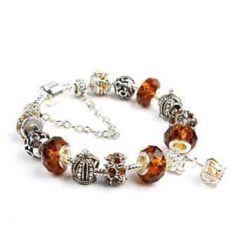Harga Velishy Women Crown Crystal Beads Bangles Chic Brown