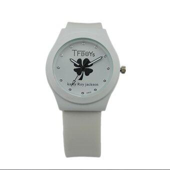 Harga New Fashion Watch Four Leaf Clover Silicone Band Watch Women Simple Popular Korea Style Student Casual Quartz Clock - intl