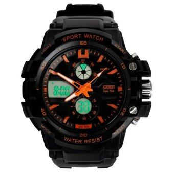 Harga Waterproof Multi Function Military S-Shock LED Sports Watch Alarm Orange