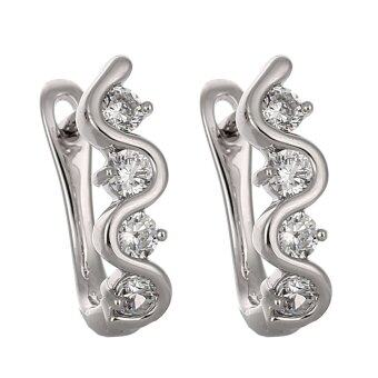 Harga Jiayiqi Elegant Diamond Earrings for Women Fine Jewelry - Intl