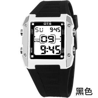 Harga O.T.S 6726 Boys Girls Women Candy Color Waterproof Sport Digital Electronic WristWatches - Black - intl