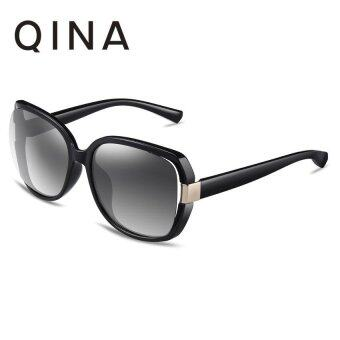 Harga QINA Polarized Women Black Sunglasses Oversize UV 400 Protection Grey Lenses QN3511 - intl
