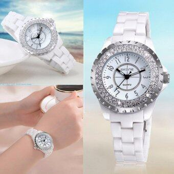 Harga SKONE Bling Bling Women Watches Rhinestone Female Quartz Watch Ceramic Strap Wristwatches - intl