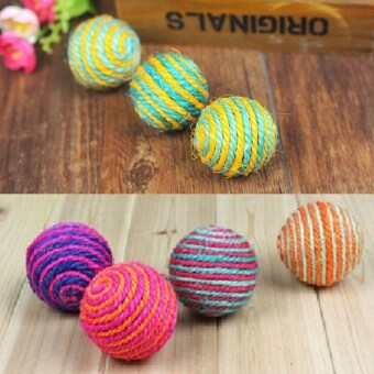Harga 1x Funny Cat Pet Sisal Rope Weave Ball Play Chewing Rattle Scratch Catch Toy