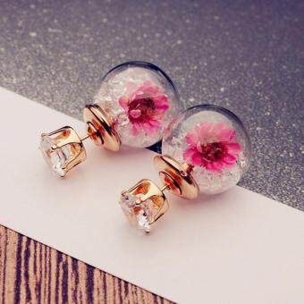 Harga Fashion Women Lady Elegant Flower Rhinestone Ear Stud Earrings White