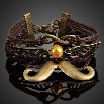 Harga Lovely Mustache Girl Braid Bracelet Lady String Band Bangle Pendant (Intl)