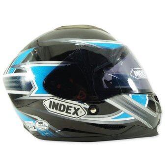INDEX หมวกกันน๊อคเต็มใบ รุ่น LEGENDA ลาย URGENT (ดำ/ฟ้า)