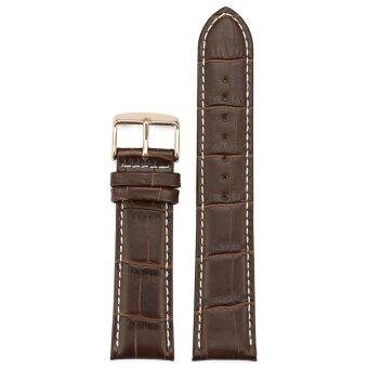 iStrap 22mm Genuine Leather Watch Band Alligator Grain Rose GoldTang Buckle Padded - Brown