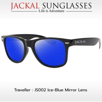 JACKAL แว่นตากันแดด รุ่น TRAVELLER JS002 (Premium Black Frame/Ice-Blue Mirror Lens)