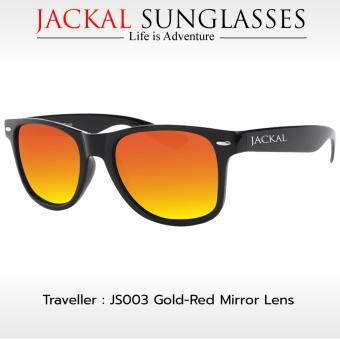 JACKAL แว่นตากันแดด รุ่น TRAVELLER JS003 (Premium Black Frame/Gold-Red Mirror Lens)