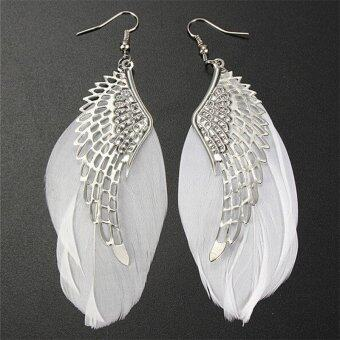 Jetting Buy Angel Wing White Feather Dangle Earring Fashion Jewelry Long Earrings for Women White