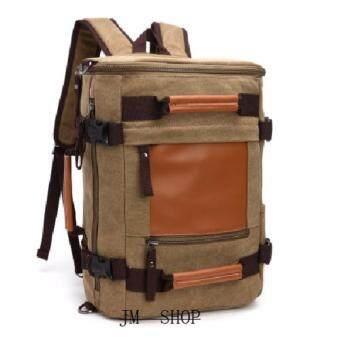 JMกระเป๋าเป้ผู้ชาย กระเป๋าโน๊ตบุ๊ค 20 นิ้ว ผ้าแคนวาส A42 ( สีน้ำตาล)