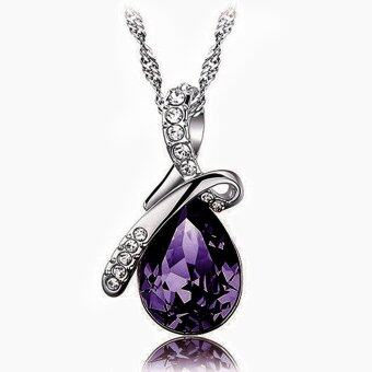 Jo.In Stylish Women Crystal Rhinestone Pendant Silver ChainNecklace Love Teardrop Elegant Jewelry Gift Party Wedding - intl