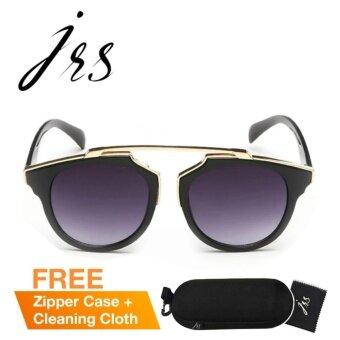 JRS แว่นกันแดดสำหรับผู้หญิง กรอบทรงกลมสีดำและขาแว่นสีทอง เลนส์ป้องกันรังสี UV400 แบบไล่เฉดสีสีเทา P3409-SD