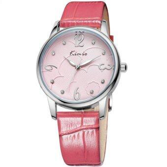 ซื้อ/ขาย KIMIO KW523M Leather Casual Watch for Ladies Waterproof Quartz Crystal hours Women Dress Wrist watches (Pink)