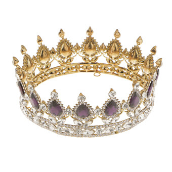 จัดโปรโมชั่น King Queen Bridal Crown Rhinestone Tiaras Gold Plated Hair JewelryPurple