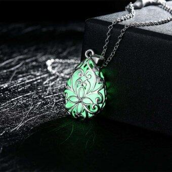 La Vie Wishing Tear Drop Glow in the Dark Pendant Necklace(Green)