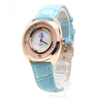 ราคา LAMBS นาฬิกาข้อมือผู้หญิง ระบบ Quartz เรือนทองPink สายหนังสี หน้าปัดแบบเพชรกลิ้งคลาสสิคหรู รุ่น FF-D
