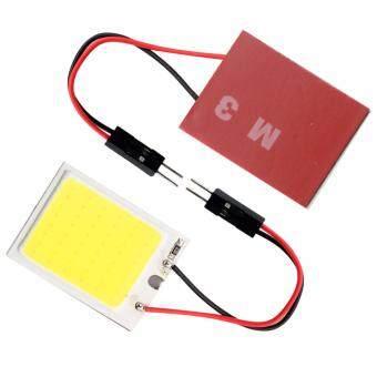 ไฟห้องโดยสาร LED แบบแผง SMD 24 ดวง แสงสีขาว พร้อมขั้ว T10และขั้วสปริงปรับขนาดได้ (ฟรี LED T10 20SMD 1 คู่) รูบที่ 2