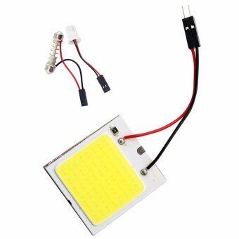 ไฟห้องโดยสาร LED แบบแผง SMD 48 ดวง แสงสีขาว พร้อมขั้ว T10และขั้วสปริงปรับขนาดได้