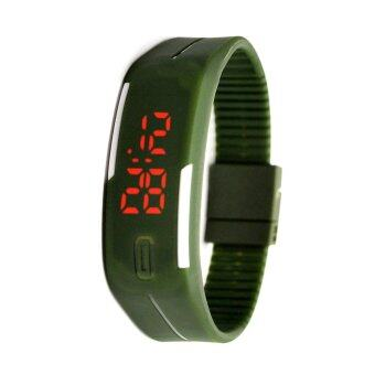 LED Watch sports นาฬิกาข้อมือกีฬาผู้ชาย สีเขียวArmy greenขลิบขาวสายซิลิโคน รุ่น WM0038