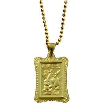 LEE TAI FU สร้อยทองพร้อมจี้แผ่นทองนักษัตรเถาะ