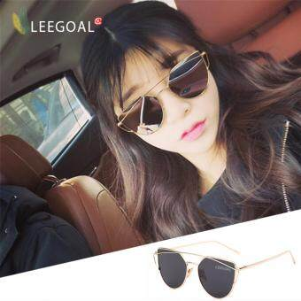 leegoal Fashion Women Sunglasses Sunscreen Anti-UV Color FilmSunglasses ,Gold And Black Grey - intl