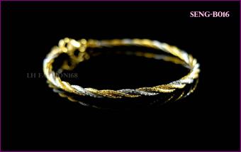 ขายด่วน LH Fashion กำไลเงินแท้นำเข้าอิตาลี เคลือบทอง 2 กษัตริย์ ขนาด 5.5 cmSENG-B016