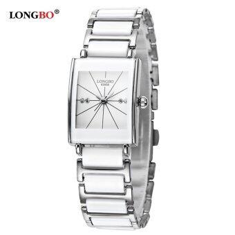LONGBOคนลักกันน้ำสีดำนาฬิกาข้อมือนาฬิกาลานเซรามิกคู่ธุรกิจนาฬิกาควอทซ์เมิน8395B