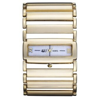 Luxury Rome Womens Ladies Wrist Dressed Watches QuartzBraceletBangle Watch Square Dial Metal Chain Band(gold) - intl