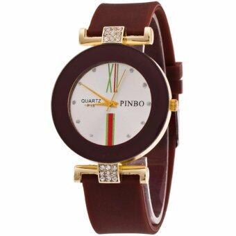 MEGA Luxury Casual Crystal Silicone Jelly Quartz Watch คริสตัลซิลิโคนหรูหราแฟชั่นนาฬิกาข้อมือผู้หญิง รุ่น MG0029 (Coffee)