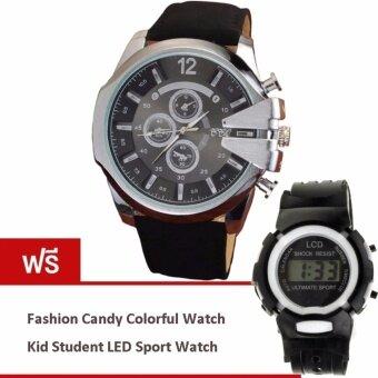 MEGA Luxury Quartz Waterproof Leather Watchband Outdoor Fashion Sport Watch หรูหรานาฬิกาข้อมือ สายหนัง กันน้ำ รุ่น MG0018 (Silver/Black) (ฟรี Fashion Candy Colorful Kid Student Sport LED Watch)