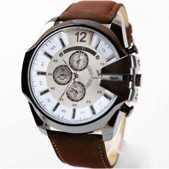 MEGA Luxury Quartz Waterproof Leather Watchband Outdoor FashionAnalog Wristwatch หรูหรานาฬิกาข้อมือ สายหนัง กันน้ำ รุ่น MG0018(White/Dark Brown)
