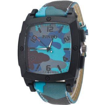 MEGA Quartz Waterproof Military Leather Watchband Sport Casual Wristwatch หรูหรานาฬิกาข้อมือ สายหนัง กันน้ำ รุ่น MG0019 (Blue)