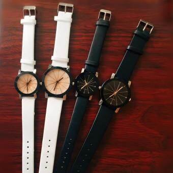 MEGA Quartz Waterproof Slim PU Leather Wristwatch Lover CoupleWatch ������������������������������������������������������ ��������������������� ������������������ ��������������������������� ������������ MG0014 (1Black+1 White)(White) (image 1)