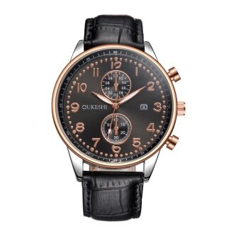 Men Luxury Stainless Steel Quartz Military Sport Leather Band Dial Wrist Watch E - intl