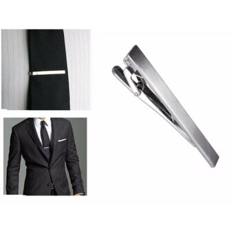 Men Metal Silver Tone Simple Practical Necktie Tie Bar Clasp Clip Decor 6CM Gift - intl
