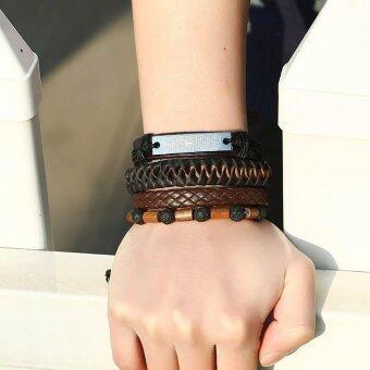 Men's Braclet Multilayer Bead Beaded Woven Bracelet Rope LeatherBraslet Adjustable - intl