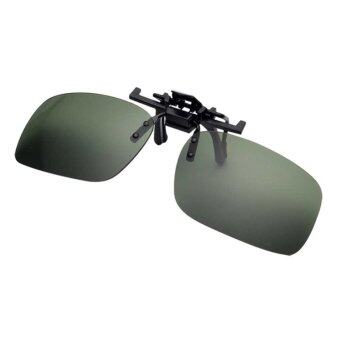 Harga Men's Day Night Vision Clip-on Flip-up Lens Sunglass PracticalDriving Glasses Green(Size: L) - intl