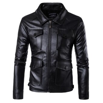 Men's Multi Pockets PU Leather Motorcycle Jackets Leisure - intl